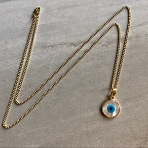 Evil Eye Carved Shell Boho Necklace 14K Gold